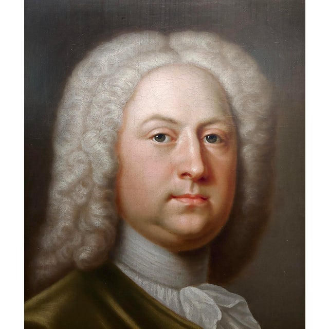 19th Century Portrait of an English Aristocrat in Green Coat-18th Century Oil Painting Possibly by Thomas Hudson For Sale - Image 5 of 11