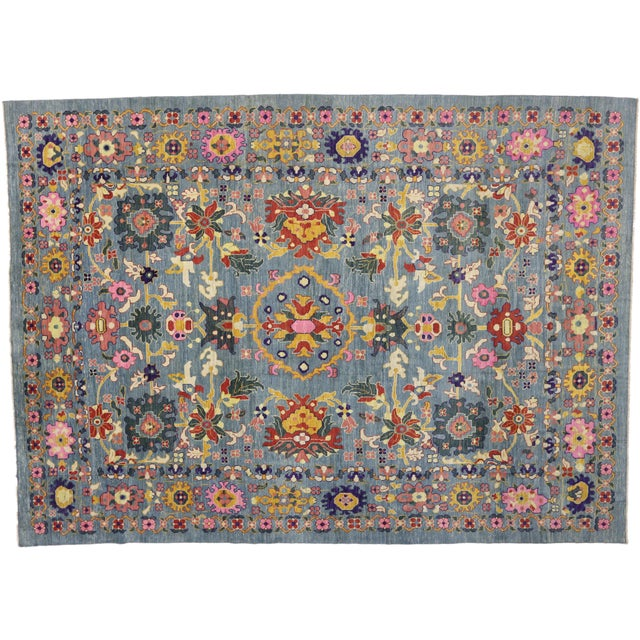 New Colorful Turkish Oushak Rug With Modern Contemporary Style For Sale In Dallas - Image 6 of 6