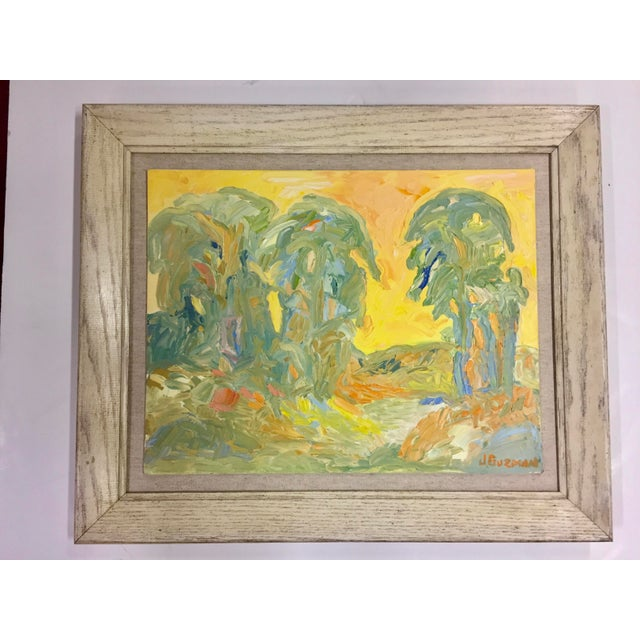 1970s Abstract Juan Guzman Palm Trees Landscape Oil Painting For Sale - Image 10 of 10