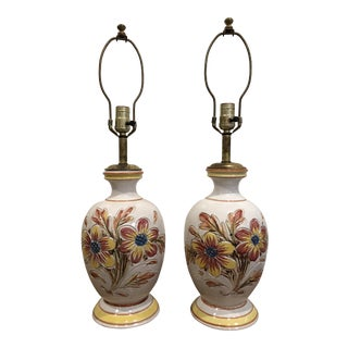 Mid 20th Century Vintage Majolica Italian Pottery Lamps - a Pair For Sale
