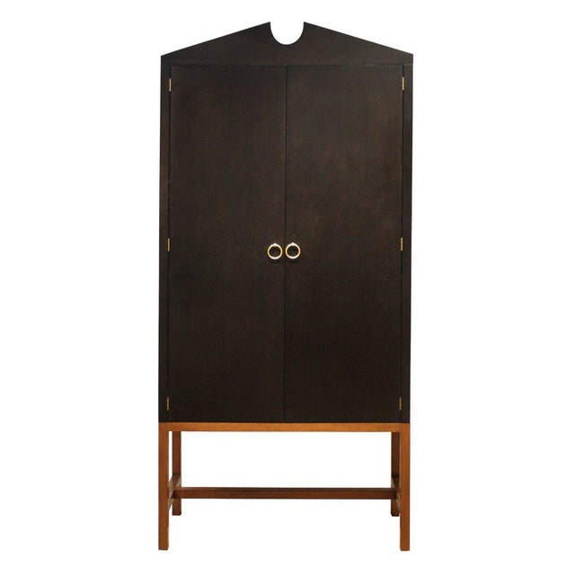 Transitional Tall Boy Cabinet in Black For Sale - Image 3 of 3
