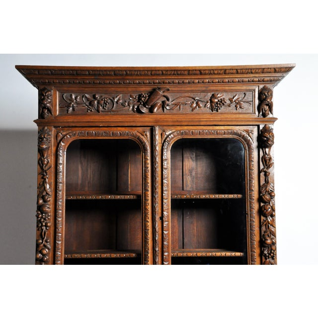 "French ""Black Forest"" Style Hunting Oak Buffet Cabinet For Sale In Chicago - Image 6 of 11"