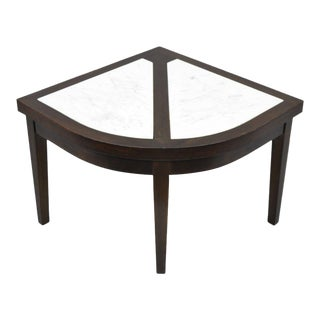 Vintage Mid-Century Modern Mahogany & Marble Top Slice Corner Side Table For Sale