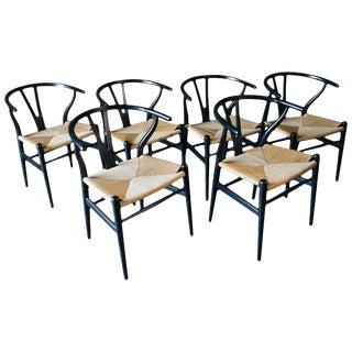 Vintage Hans Wegner in Ebonized Oak Ch-24 Wishbone Chairs- Set of 6 For Sale
