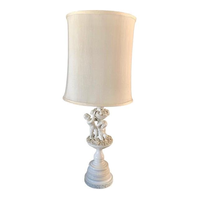 Vintage Porcelain Cherub With Floral Table Lamp For Sale