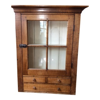 Tiger Maple Wall Cabinet For Sale