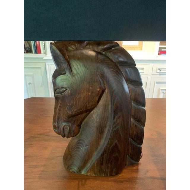 Brown Mid 20th Century William Billy Haines Horse Head Lamps - a Pair For Sale - Image 8 of 13
