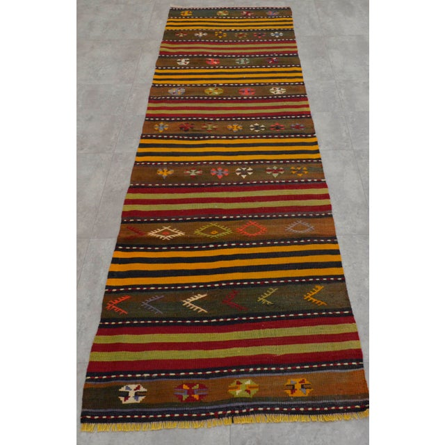 Turkish Kilim Hand Woven Wool Runner Rug - 2′6″ × 8′8 For Sale - Image 5 of 8