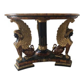 1990s Contemporary Empire Style Inlaid Marble Center Table For Sale
