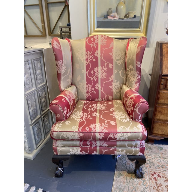 1920s Vintage Red Wingback Chair For Sale - Image 9 of 9
