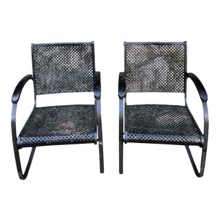 Pair of Heavy Iron Cantilever Garden Chairs From the 1930s For Sale