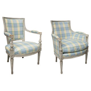 Companion Directoire Style Gray Painted Upholstered Chairs - a Pair For Sale