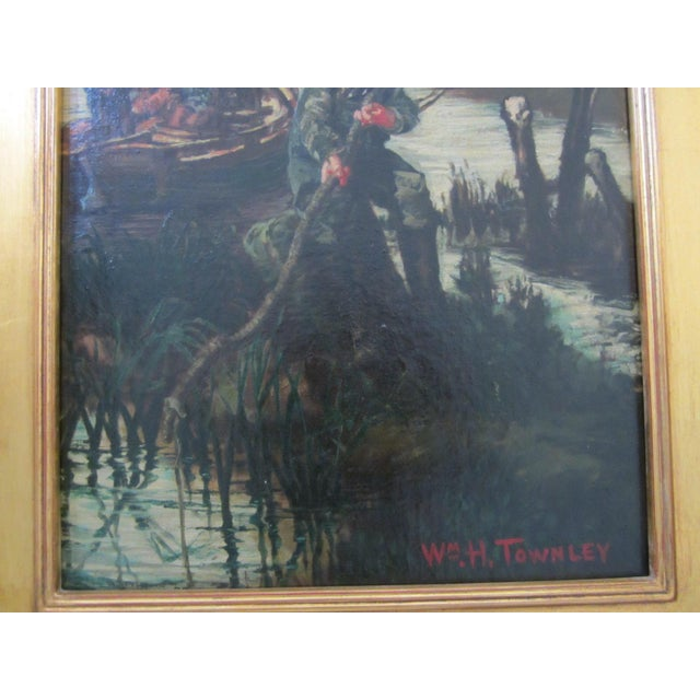 Young Boy Fishing Oil Painting For Sale - Image 4 of 10