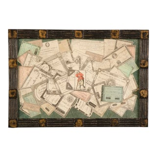 1950s English Tramp Art Style Framed Collage of Antique French Monetary Assignments For Sale