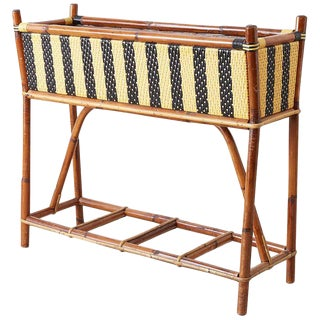 French Maison Gatti Bamboo Rattan Jardinière Planter For Sale