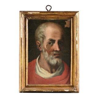 18th Century French School Portrait Painting Icon St. Paul For Sale