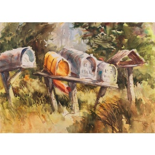 'Rural Route Mailboxes' by Jane Burnham, California Woman Artist, Society of Western Artists For Sale