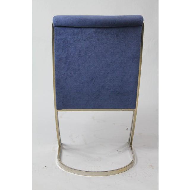 Milo Baughman Vintage Blue Velvet & Chrome Mid-Century Modern Dining Chairs - Set of 6 For Sale - Image 4 of 5
