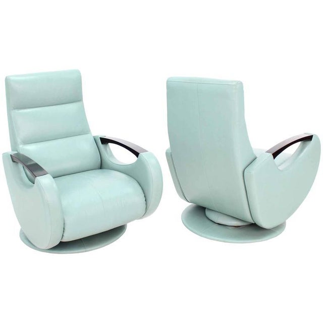 Animal Skin Pair of Mid-Century Modern Leather Recliner Lounge Chairs For Sale - Image 7 of 11