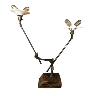 O.C. White Two Arm Table Mount Task Lamp For Sale