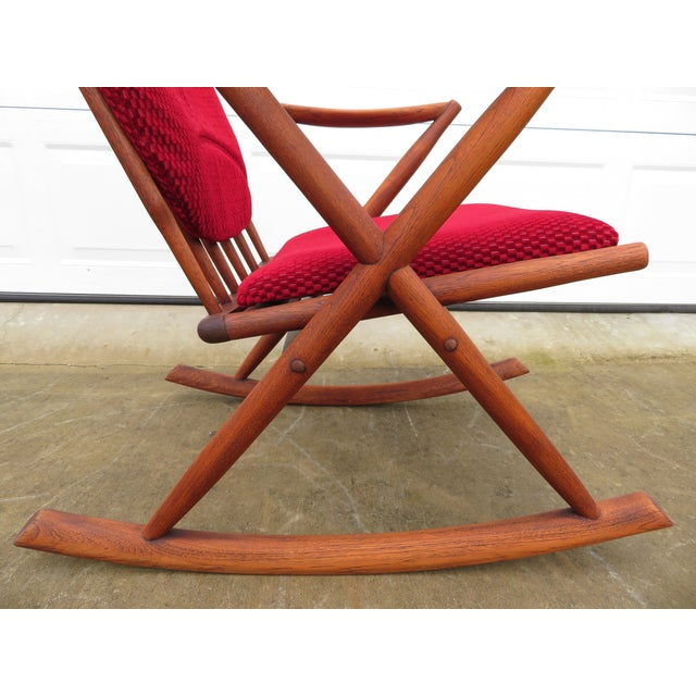 Mid Century Modern Teak Rocker Lounge Chair For Sale - Image 9 of 13