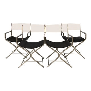 1970s Mid-Century Modern Milo Baughman Directors Chairs - Set of 4 For Sale