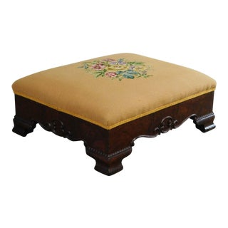 Victorian Antique Mahogany Needlepoint Footstool For Sale