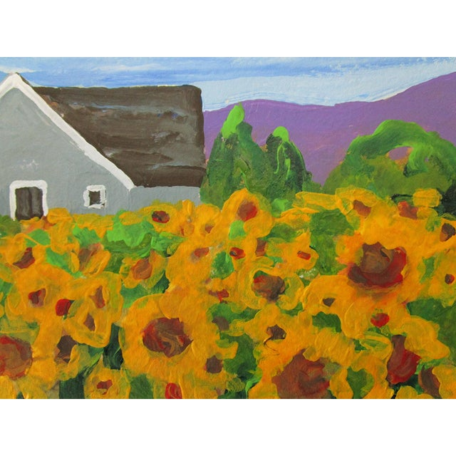 2010s Cottage California Plein Air Landscape Sunflower Farm 5x7 Painting by Lynne French For Sale - Image 5 of 7