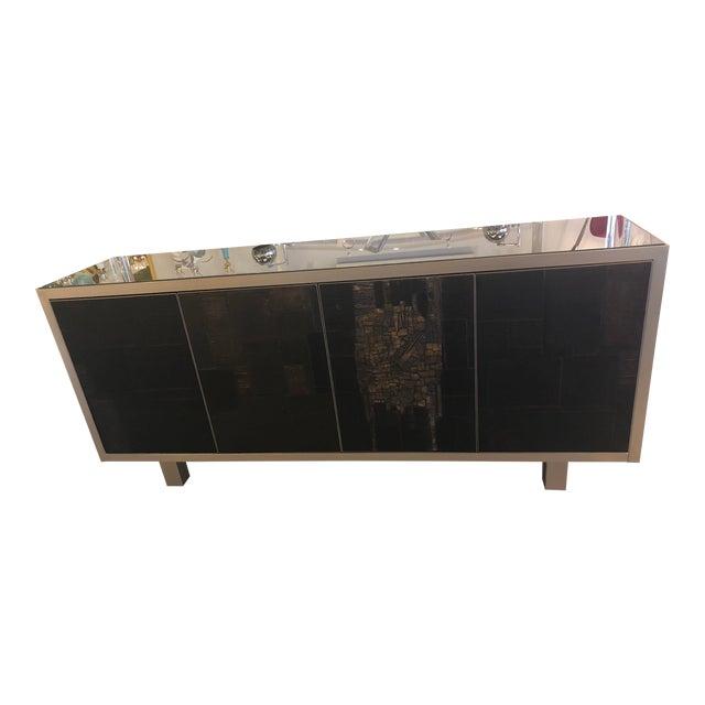 Vintage Brutalist Signed Pia Manu Sculpted Ceramic Slate Sideboard Buffet Credenza For Sale