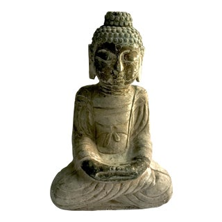Antique Tibetan Carved Stone Temple Buddha For Sale