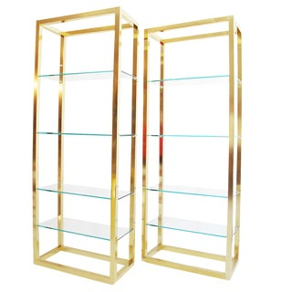Modern Style Brass Etageres - a Pair For Sale