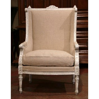 19th Century Louis XVI Carved Painted Bergere Armchair With Burlap Upholstery Preview