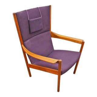 Nanna Ditzel Highback Lounge Chair in Purple Wool For Sale