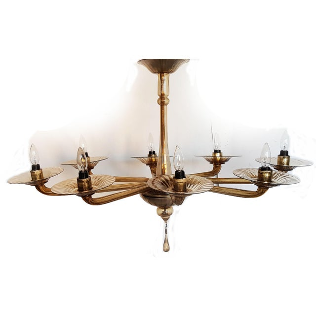 Italian Murano Oval Chandelier For Sale - Image 3 of 9