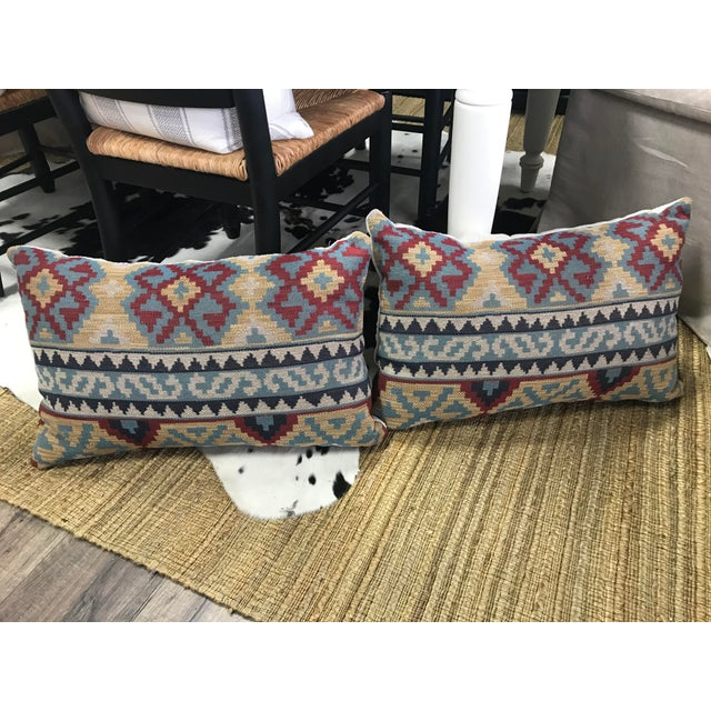 2010s Boho Chic Lee Jofa Kilim Pillows - a Pair For Sale - Image 5 of 5