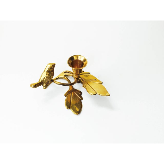 Vintage Brass Songbird Candleholder - Image 3 of 5