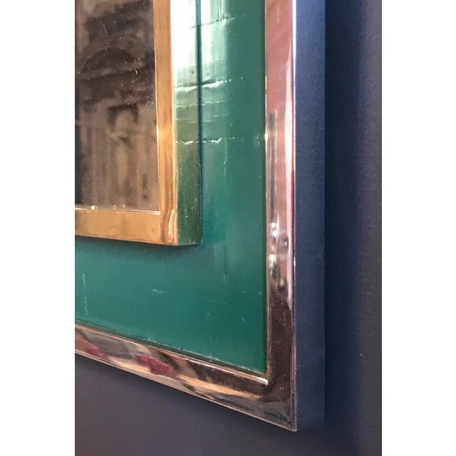 Tommaso Barbi Mid-Century Tommaso Barbi Green Mirror in Chrome and Brass, Italy, 1970s For Sale - Image 4 of 8