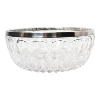 Vintage Leonard Crystal Bowl With Silver Rim For Sale