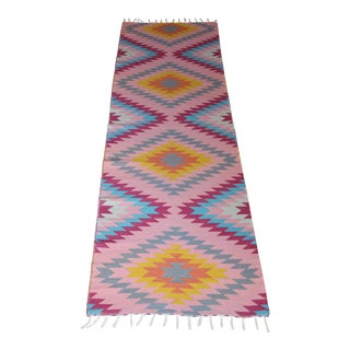"Flat Weave Wool Diamond Runner Kilim Rug - 2'8"" x 10'"