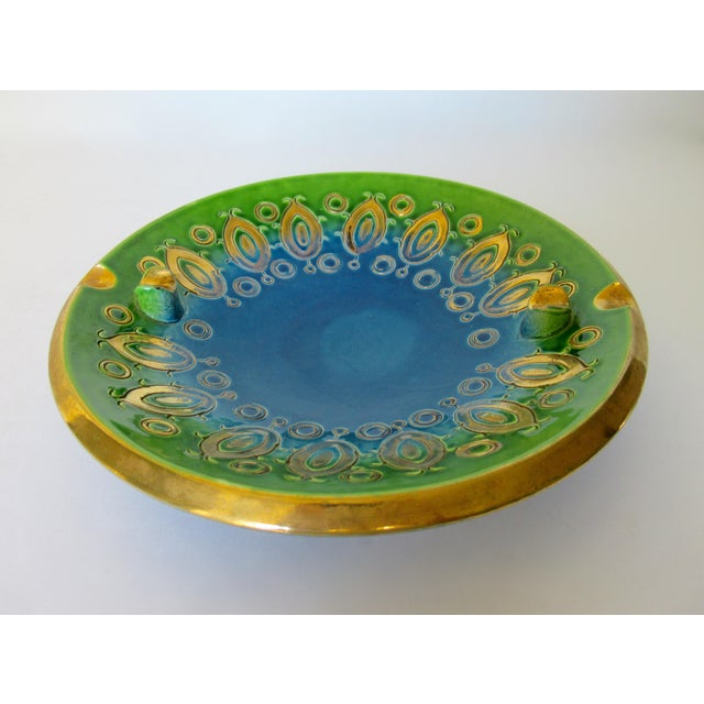 Hollywood Regency Vintage Mid-Century Aldo Londi for Bitossi Blue Ashtray, or Catchall Dish For Sale - Image 3 of 13