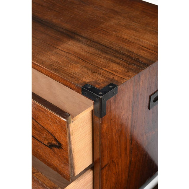Brown Pair of Campaign-Style Rosewood Chest of Drawers For Sale - Image 8 of 9
