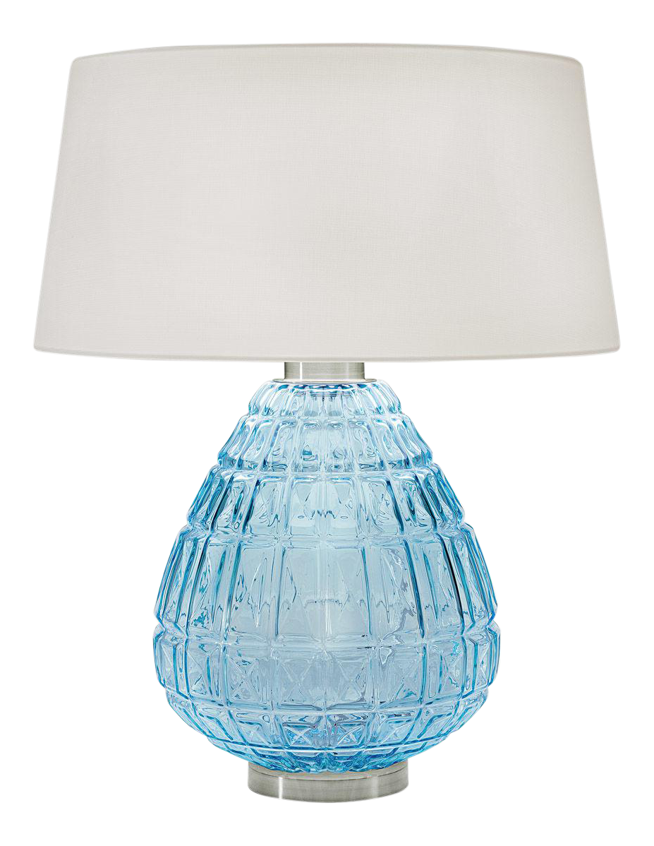 Laguna Hand Blown Glass Table Lamp In Aqua Chairish
