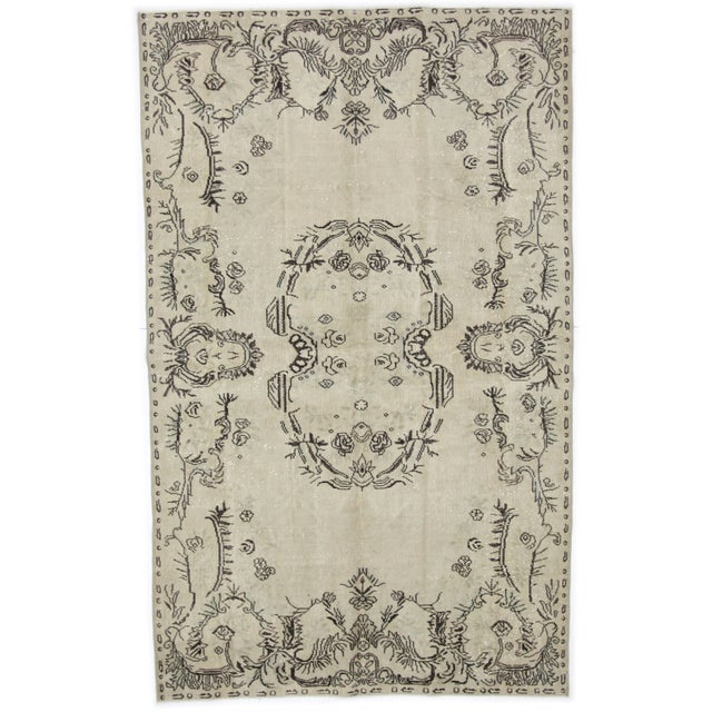 Cream Charcoal Medallion Turkish Rug For Sale
