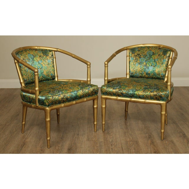 High Quality American Made Solid Wood Frame Pair of Gold Painted Armchairs with Vintage Upholstery Store Item#: 25187