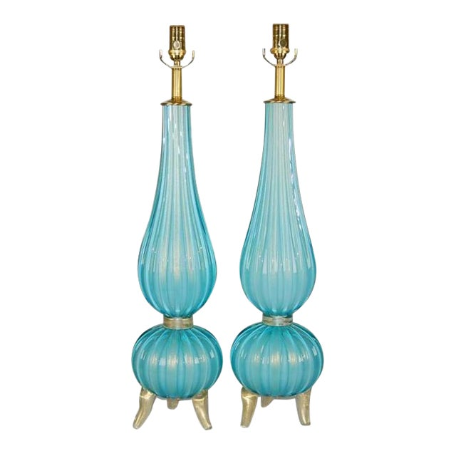 Murano Glass Three Footed Table Lamps Blue Gold For Sale