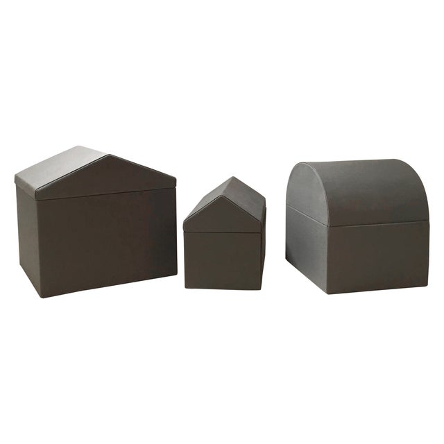 Danish Modern Gray Architectural Boxes - Set of 3 - Image 1 of 6