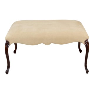 French 19th Century Large Square Upholstered Stool with Walnut Legs For Sale