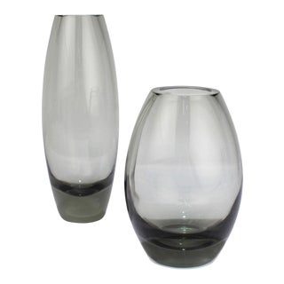 Midcentury Grey Hellas Vases by Per Lutken for Holmegaard Glass, 1956 - A Pair For Sale