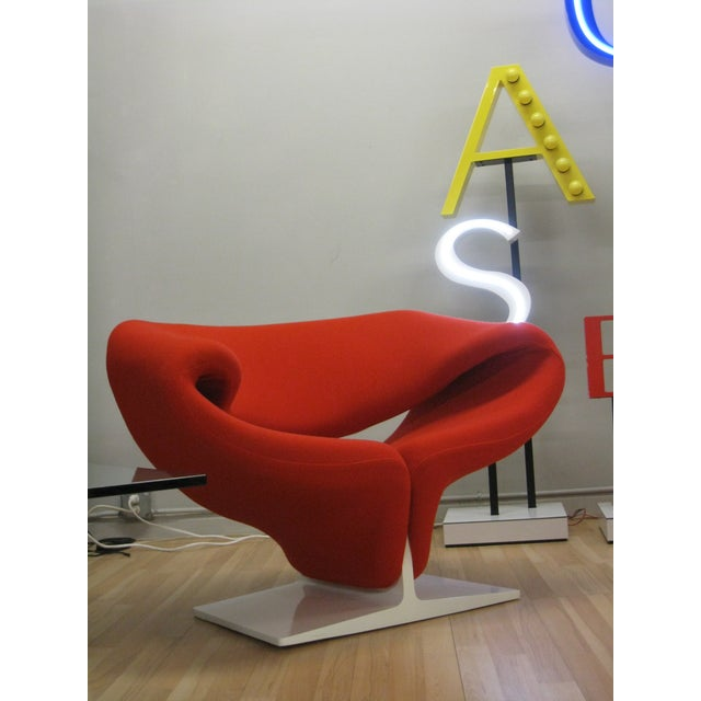 1960s Pop Art Pierre Paulin Red Wool Ribbon Chair For Sale - Image 11 of 13