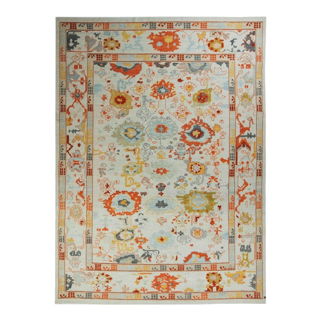 Turkish Oushak Rug With Red & Yellow Floral Details on Ivory Field For Sale